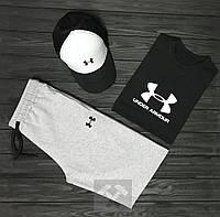 Мужской комплект: футболка + шорты + кепка