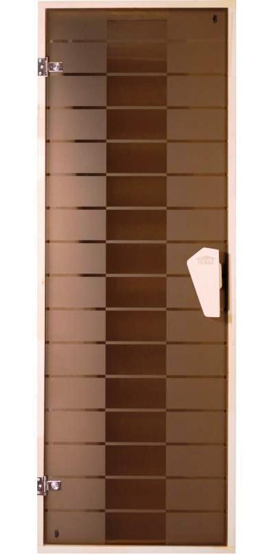 Дверь для  бани стеклянная  Plaza (матовая с рисунком)