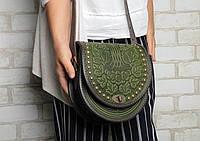 """Женская кожаная сумка """"Калина"""" ручной работы полукруглая с металлом, сумка оливковая, фото 1"""