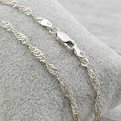 Серебряный браслет родированный Сингапур длина 17 см ширина 3 мм вес 2.7 г