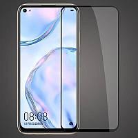 Защитное стекло для Huawei P40 Black (ANA-NX9) Хуавей клеится по всей поверхности 5D