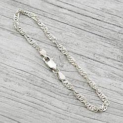 Серебряный браслет родированный Сингапур длина 18 см ширина 3 мм вес 2.8 г