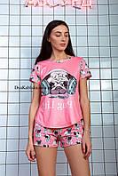 Пижама женская летняя розовая с принтом животного (Мопс) для дома и сна. Шорты + футболка, хлопковая. S M L