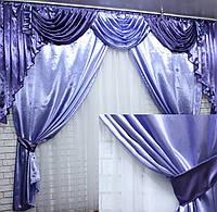 Ламбрекен и шторы из атласа  №49 Цвет лиловый с фиолетовым  (3х2,4) 79-002, фото 1