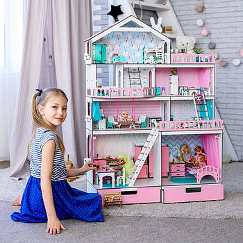 """""""БОЛЬШОЙ ОСОБНЯК"""" кукольный домик NestWood для кукол LOL/OMG/Барби, розовый + мебель 9 ед (kdl003)"""