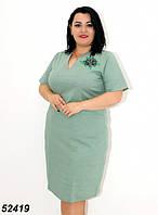 Женское льняное летнее платье светло зелёного цвета 48,50,52,54,56