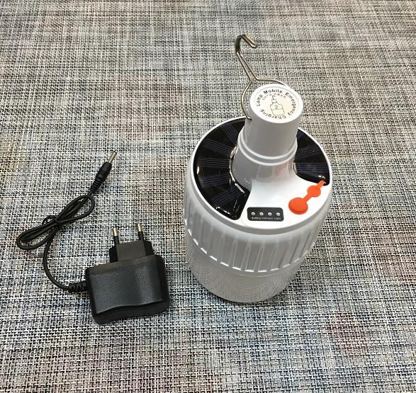 Кемпінговий лампа з гачком та АКБ і сонячною панеллю SL-24 / 55