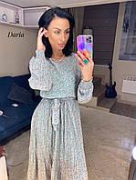 Голубое женское шифоновое платье в цветочек  Daria
