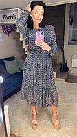 Черное шифоновое женское платье с принтом Daria