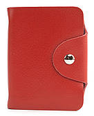 Удобная розовая женская карманная визитница на кнопке APPLE art. Б/Н визитница Красный