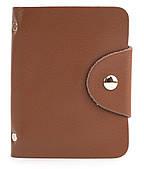 Удобная розовая женская карманная визитница на кнопке APPLE art. Б/Н визитница Светло-коричневый