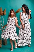 Женское длинное и детское льняное платье А-силуэта в стиле Family Look размер 38,40,42,44,46,48