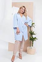 Удлиненная легкая рубашка–туника 59406 (50–60р) в расцветках, фото 1