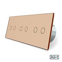 Сенсорный радиоуправляемый проходной выключатель Livolo 6 каналов (2-2-2) золото стекло (VL-C706SR-13), фото 1