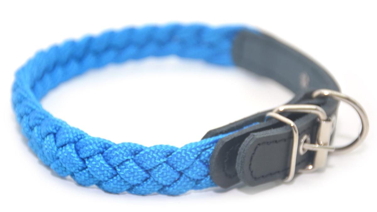 Ошейник для собак капроновый ок 2,0 см коса синий