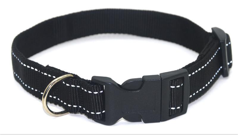 Ошейник для собак капроновый светоотражающий Неон ок 1,0 см черный