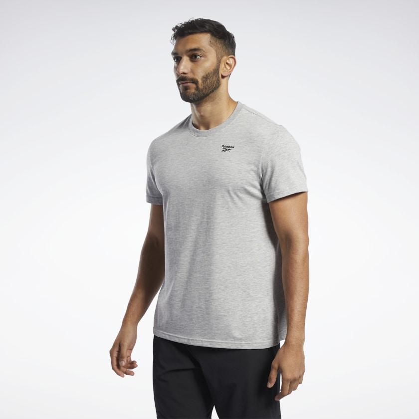 Reebok Training Essentials Classic FP9183 Мужская футболка серая хлопковая фирменная