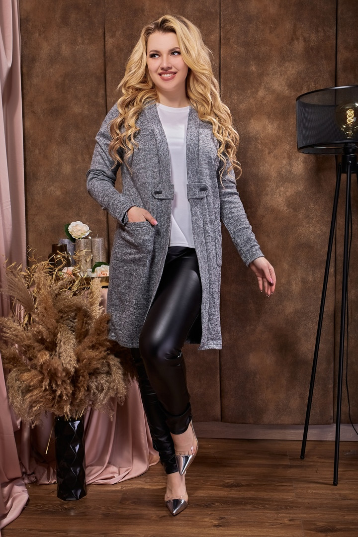 Кардиган длинный женский серого цвета  от YuLiYa Chumachenko