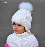 Детская Шапка Букет. Зима флис, песец. р. 52-56 от 4 лет. Молоко, коралл, клубника, белый, бел+клубн+бирюза