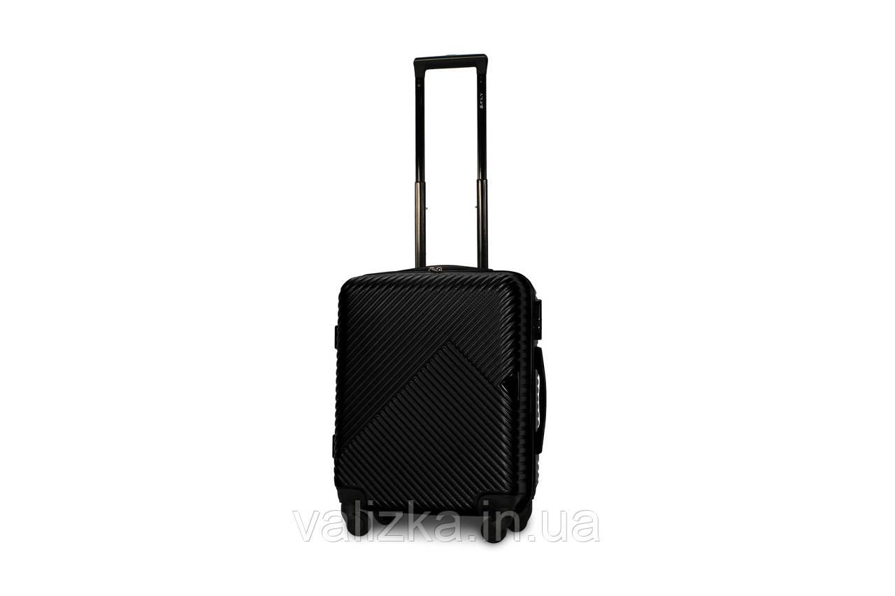 Пластиковый чемодан маленький черный ручная кладь S+ Fly 2702
