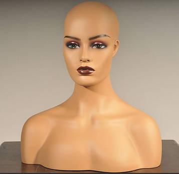 Манекен голова з торсом для демонстрації фотосесії перук шапок біжутерії