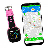 Детские умные часы JETIX DF50 Light Edition с GPS трекером и влагозащитой (Чёрно-розовые), фото 3