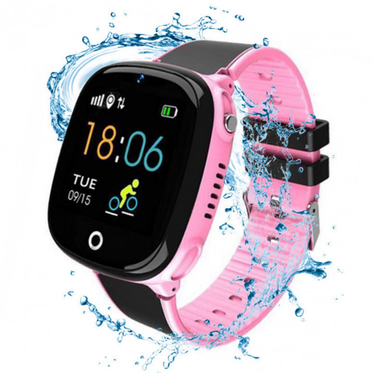 Детские умные часы JETIX DF50 Light Edition с GPS трекером и влагозащитой (Чёрно-розовые)