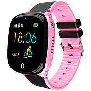 Детские умные часы JETIX DF50 Light Edition с GPS трекером и влагозащитой (Чёрно-розовые), фото 2