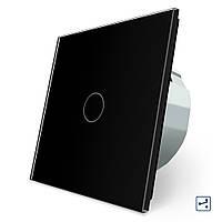 Сенсорный проходной маршевый перекрестный выключатель Livolo черный стекло (VL-C701S-12)
