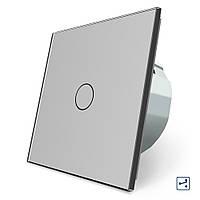 Сенсорный проходной маршевый перекрестный выключатель Livolo серый стекло (VL-C701S-15), фото 1