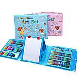 Набор для рисования с мольбертом в чемоданчике Art Set голубой (208 предметов) Синий, фото 10