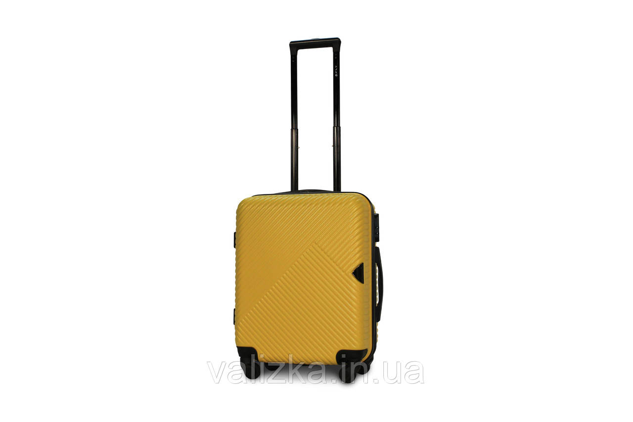 Пластиковый чемодан маленький желтый ручная кладь S+ Fly 2702