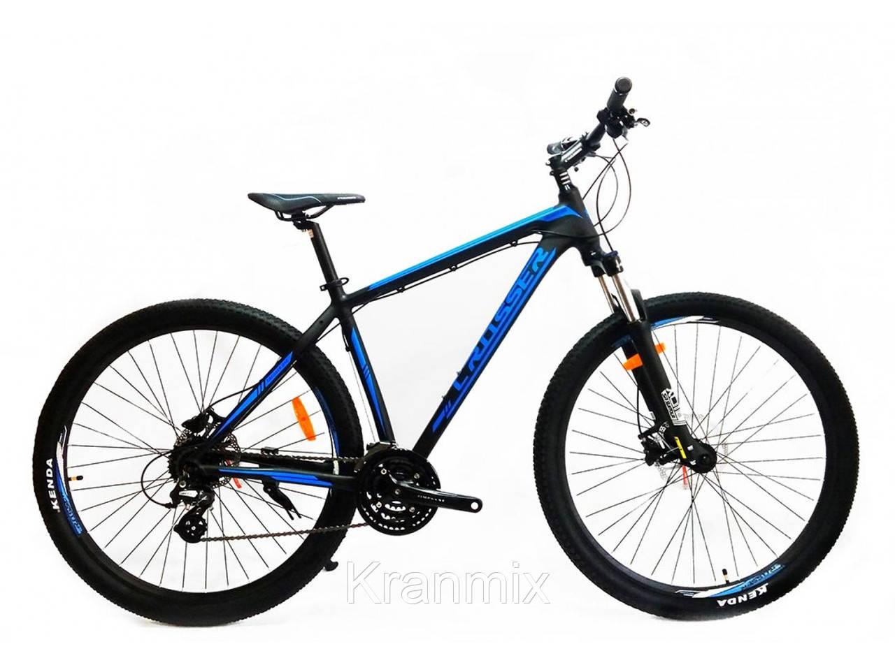 """Горный алюминиевый велосипед Crosser One 26"""" ЧЕРНО-СИНИЙ"""