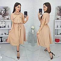Стильное модное легкое миди платье с поясом цвета: чёрный , олива, беж ✔размеры 42-46, 48-52