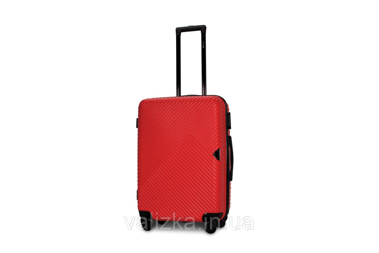 Середній пластиковий чемодан червоний Fly 2702
