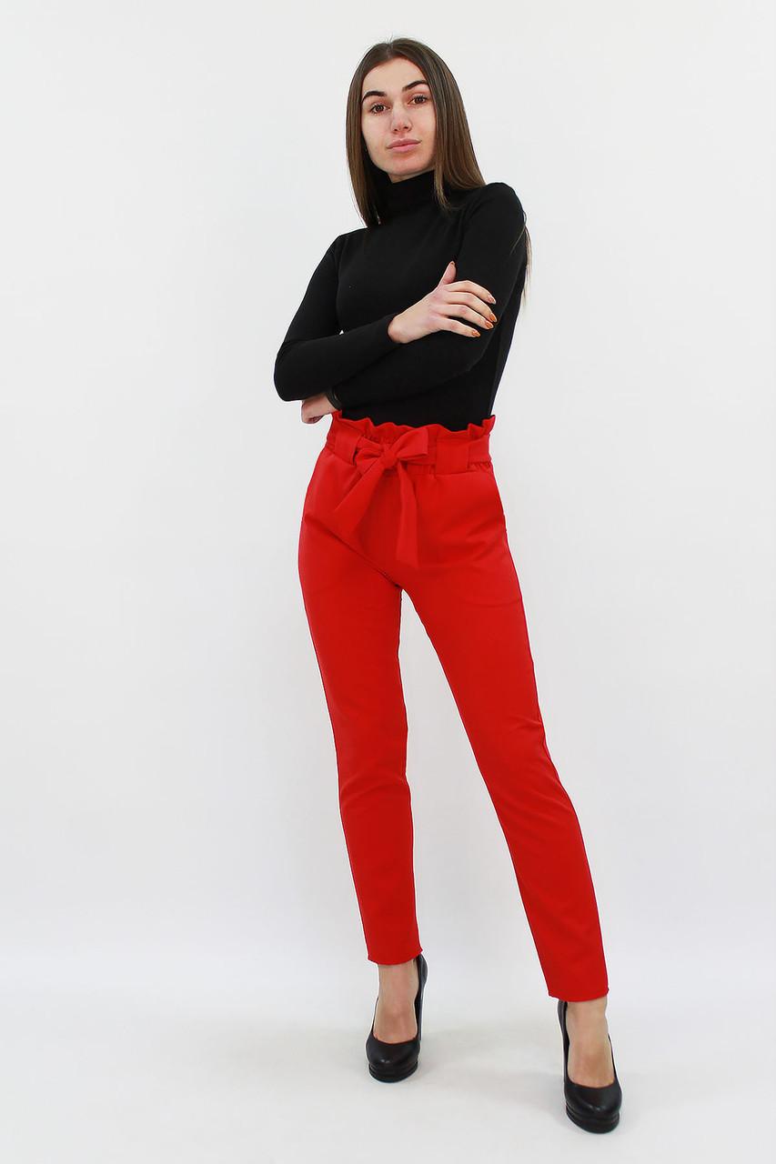 S, M, L, XL | Жіночі брюки з пояском Kosmo, червоний