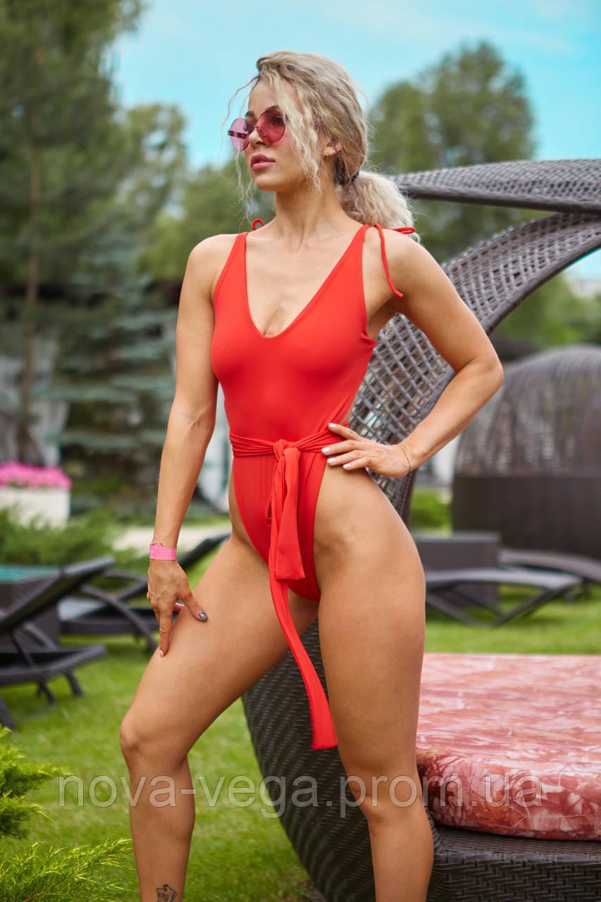 Женский пляжный купальник  Nova Vega Red Waves oversize