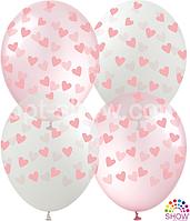 """Воздушные шары """"Сердечки на прозрачном и розовом Pure Cristal"""" 12""""(30 см)  В упак: 100шт ТМ Арт «SHOW»"""