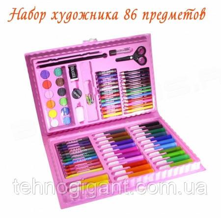 Набор для рисования и творчества в чемоданчике 86 предметов, подарок для ребенка, набор художника