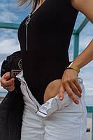 Женский крутой стильный летний боди с коротким рукавом цвета: чёрный, белый, красный