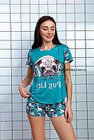 Пижама женская летняя бирюзовая с принтом животного (Мопс) для дома и сна. Шорты + футболка, хлопковая. S M L