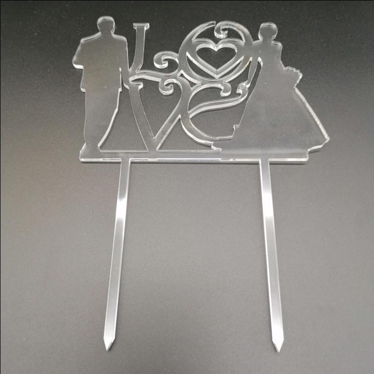 Акриловый топпер для свадебного торта, 10х14 см (арт. AK-TPR-010)