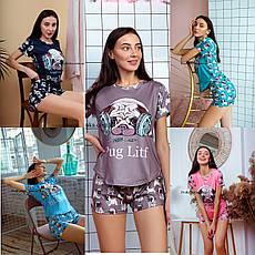 Пижама женская летняя синяя с принтом животного (Мопс) для дома и сна. Шорты + футболка, хлопковая. S M L, фото 2