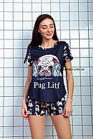 Пижама женская летняя синяя с принтом животного (Мопс) для дома и сна. Шорты + футболка, хлопковая. S M L
