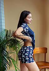 Пижама женская летняя синяя с принтом животного (Мопс) для дома и сна. Шорты + футболка, хлопковая. S M L, фото 3