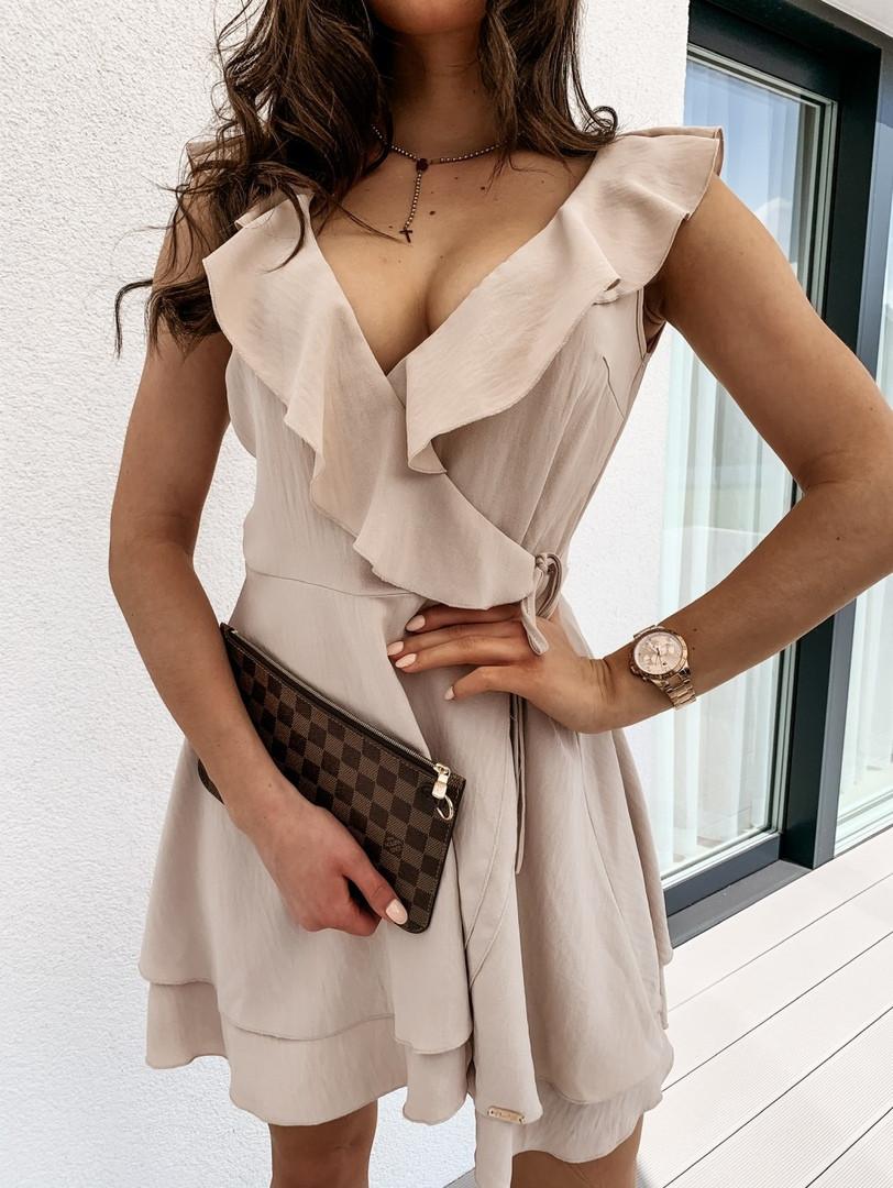 Жіноче плаття літнє ніжне з рюшами на запах (Норма)