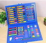 Набор для рисования 86 предметов, голубой, набор для творчества, подарок ребенку, набор художника, фото 7