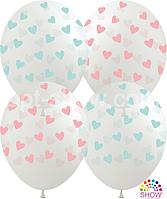 """Воздушные шары """"Сердечки на прозрачном розовые и голубые Pure Cristal"""" 12""""(30 см)  В упак: 100шт TM Multitex"""