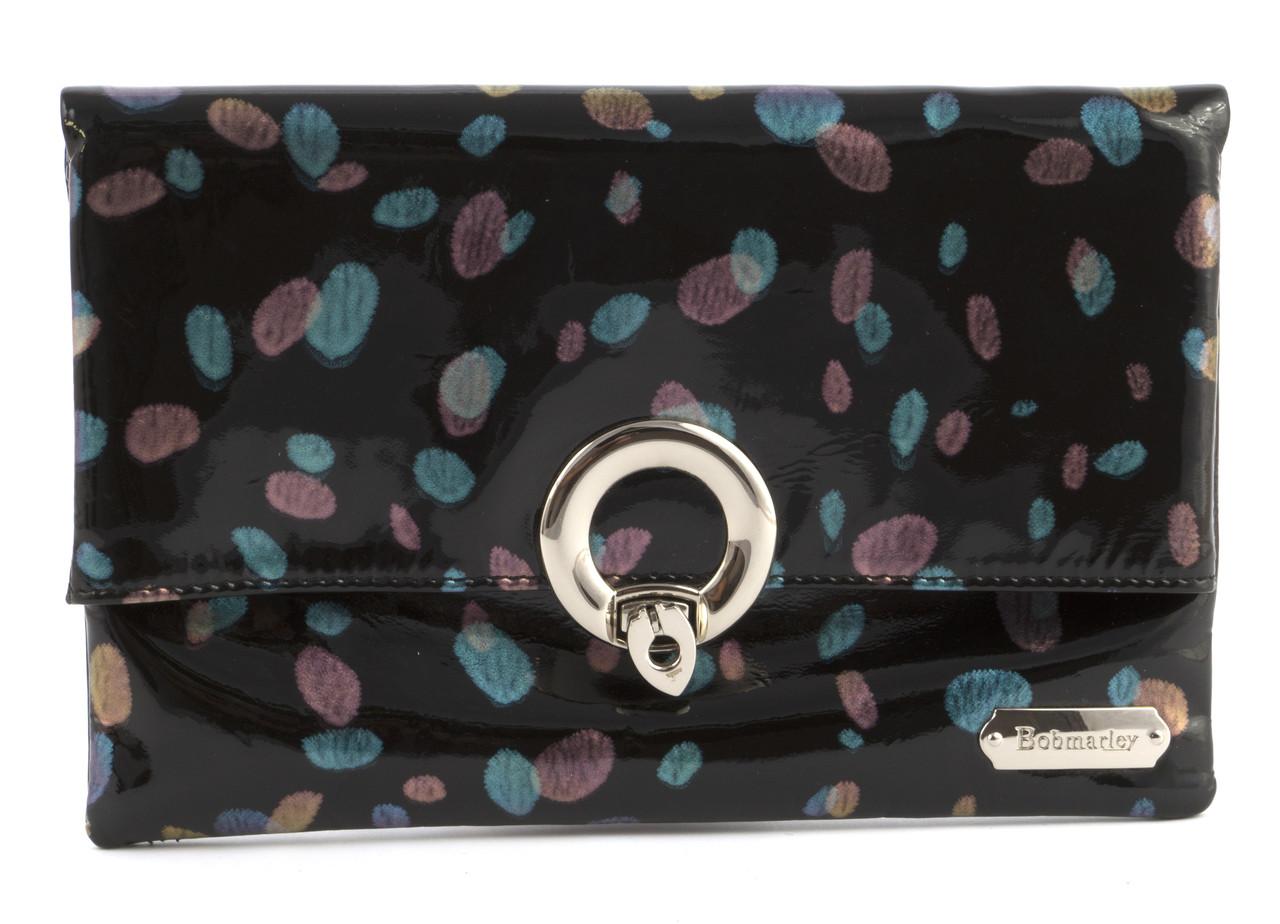 Жіноча шкіряна елітна лакова стильна сумочка з дзеркальцем BOBMARLEY art. BO-8297-A кольорові плями
