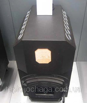 Трубная дровяная печь ТЕПЛОДАР ТОП 300 чугунная дверка со стеклом, фото 2